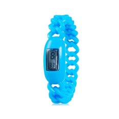 Silicone Waterproof Anion Negative Ion Sports Bracelet Wrist Watch With Calendar Display (Blue)