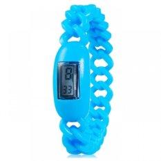 Silicone Waterproof Anion Negative Ion Sports Bracelet Wrist Watch With Calendar Display (Blue) (Intl)