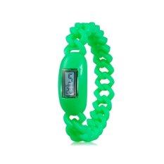 Silicone Waterproof Anion Negative Ion Sports Bracelet Wrist Watch With Calendar Display (Green)