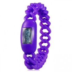 Silicone Waterproof Anion Negative Ion Sports Bracelet Wrist Watch With Calendar Display (Purple) (Intl)