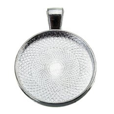 Silver Round Plating Necklace Pendant Photo Frame Base Tray Pallet 25mm (Intl)