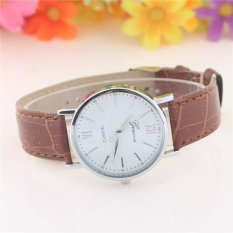 Simple Fashion Business Leather Alloy Geneva Geneva Watch Quartz Watch Men Women General Wristwatch KYNJDZ21-brown - Intl