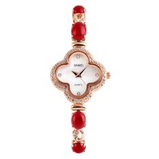 SimpleHome Skmei 1194 Ms. Crystal Clover Diamond Fashion Business Quartz Watch Red - Intl