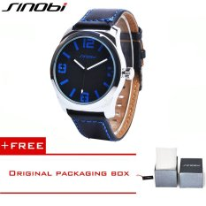 SINOBI Fashion Casual Quartz Watch For Men Oversize Stainless-steel Case Leather Strap Simple Analog Dial Reloj Hombre Montre Homme9361 (Blue) [Buy 1 Get 1 Freebie]