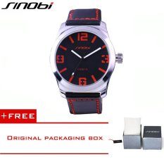 SINOBI Fashion Casual Quartz Watch For Men Oversize Stainless-steel Case Leather Strap Simple Analog Dial Reloj Hombre Montre Homme9361 (Red) [Buy 1 Get 1 Freebie]