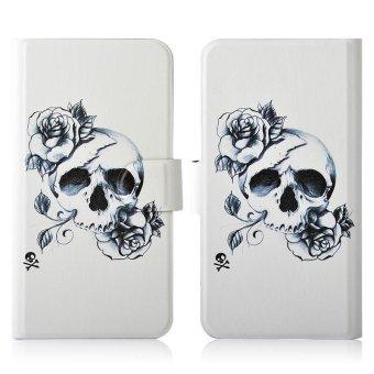 Sketch Flower Skull PU Leather New Flip Case Cover For LG
