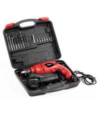 Skil Impact Drill 6513 + Free 16 Pcs Acc + Box  - Merah