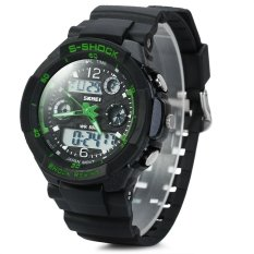 Skmei 0931 Green LED Military Watch With 2 Time Zone Chronograph Double Movts And Round Dial (Green) (Intl)