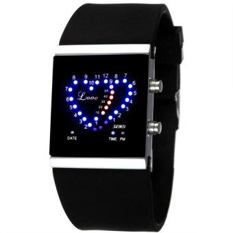 SKMEI 0952B Women LED Silicone Strap Jelly Digital Heart Shaped Lover's Watch Black