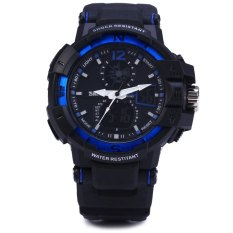 Skmei 1040 Dual Movement 5ATM Water Resistant LED Watch With Week Date Stopwatch (Blue / Black)
