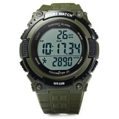 Skmei 1112 Multifunctional 3D Pedometer Male Wristwatch With PU Band (GREEN) (Intl)