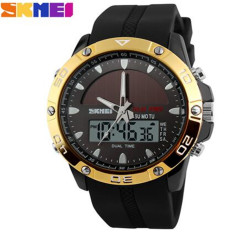 SKMEI Brand Solar Power Energy Sport Watch Men Dual Time Zone Waterproof Digital Quartz Solar Watches (Gold)