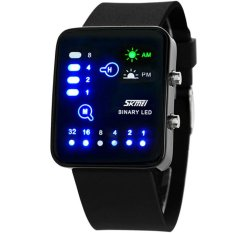 SKMEI Casual Square Men's Military Sport Black Silicone Band Men LED Wrist Watch (Intl)