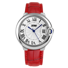 SKMEI Elegant Case Roman Number Fashion Watch Red Leather Band Wristwatch - Intl