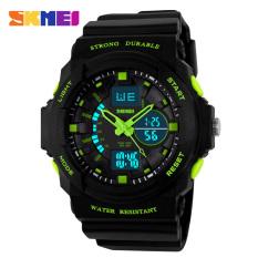 SKMEI Luxury Brand Men Sports Watches Digital LED Quartz Wristwatches Rubber Strap Military Watch For Children Boys Male Clock (Green)