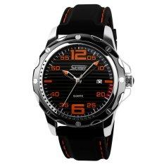 SKMEI Men's Waterproof Silicone Strap Wrist Watch - Black + Orange 0992