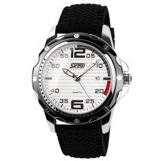 SKMEI Men's Waterproof Silicone Strap Wrist Watch - White + Black 0992
