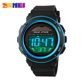 SKMEI Solar Power Sport LED Watch Water Resistant 50m - DG1096 - (Black / Blue)