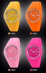 SKMEI Unisex Lovers Waterproof Silicone Strap Wrist Watch -Rose Red 9068