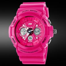 SKMEI Unisex Loves Sport Analog + LED Waterproof Rubber Strap Wrist Watch - RoseRed 0966