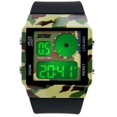SKMEI Unisex Loves Sport Waterproof Rubber Strap Wrist Watch - Green 0841 (Intl)