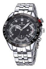 SKONE Luminous Hands Analog Date Calendar Steel Band Men Quartz Sport Military Watches (Silver Black)