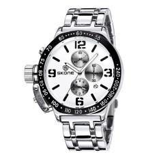 SKONE Men's Luxury Stainless Steel Strap Business Wrist Watches 3 Function Dials 658601 (Silver)