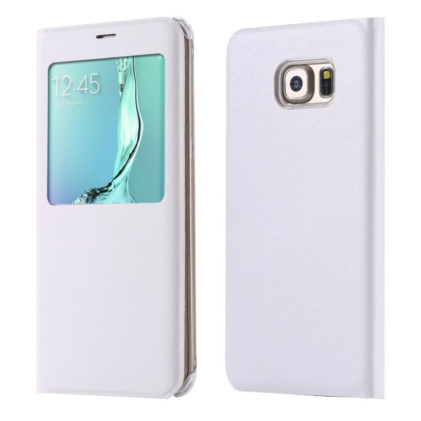 Sleeve Smart Sleep Awake PU Leather Flip Case Full Protection Cover for Samsung Galaxy S6 Edge Plus G928 G928F (White) (Intl)