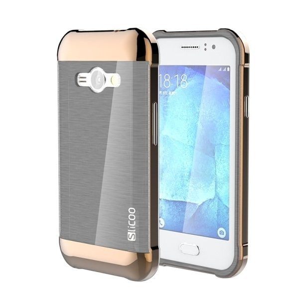 Slicoo Brushed Texture Electroplating PC + TPU Combination Case for Samsung Galaxy J1 Ace / J110 (Coffee) (Intl)