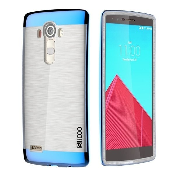 Slicoo Brushed Texture Electroplating TPU + PC Back Case for LG G4 / H815 (Blue) (Intl)