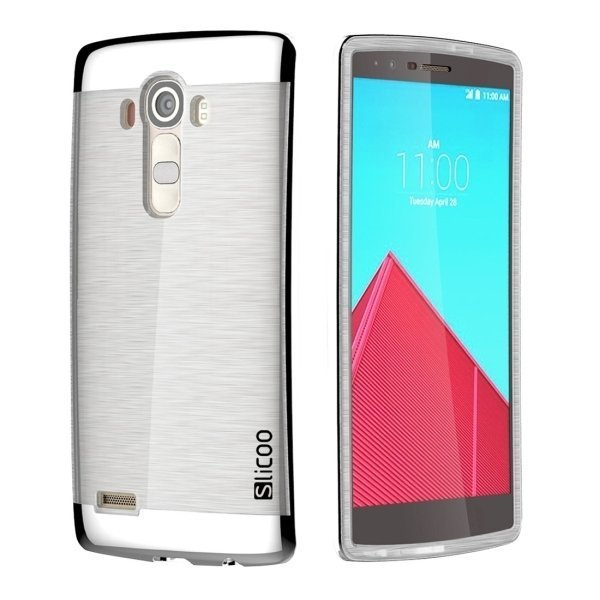 Slicoo Brushed Texture Electroplating TPU + PC Back Case for LG G4 / H815 (Silver) (Intl)