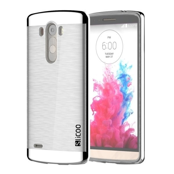 Slicoo Brushed Texture Electroplating Transparent TPU + PC Back Case for LG G3 / D855 (Silver) (Intl)