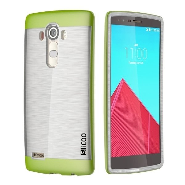 Slicoo Brushed Texture Electroplating Transparent TPU + PC Combination Case for LG G4/H815 (Green) (Intl)