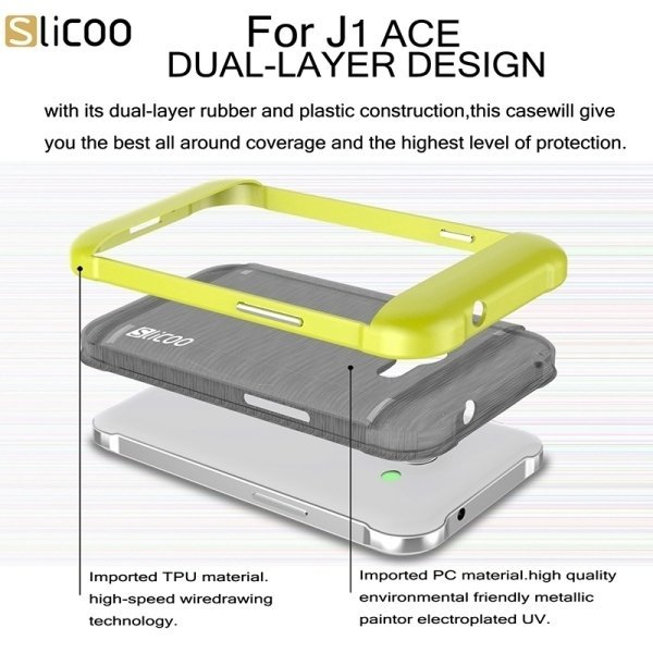Slicoo PC/ TPU Electroplating Case for Samsung Galaxy J1 Ace / J110 (Yellow) (Intl)