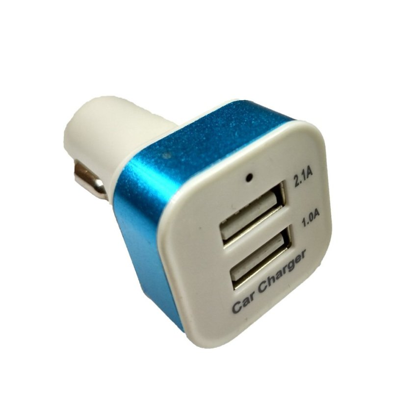 Smart Charger Mobil Double Port - Strip Silver