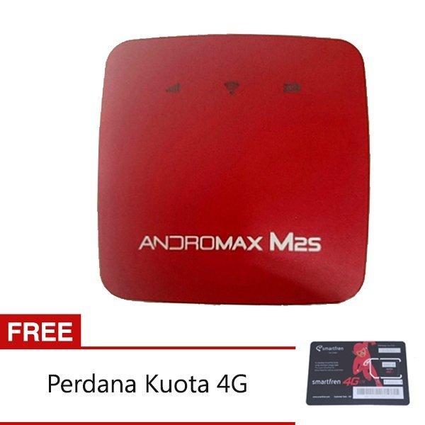 Smartfen Modem Mifi M2S 4G LTE - Merah + Gratis Perdana Kuota 4G