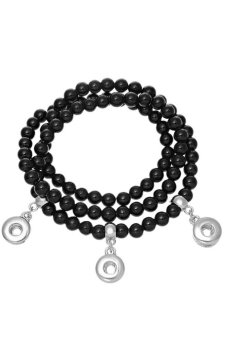 Snap Bracelet Fit Snap Mini Button Black Jade Beads Strecthable 131064...