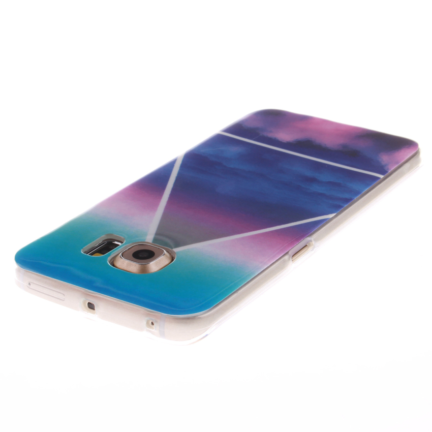 Soft TPU Back Cover With Blue Color Painting for Samsung Galaxy S6 Edge (Multicolor) (Intl)