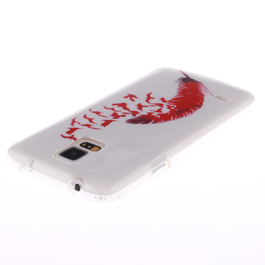 Soft TPU Back Cover With Red Feathers Painting for Samsung Galaxy S5 (White) (Intl)