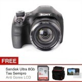 Sony Cybershot DSC-H400 - 20.1 MP - 63x Optical Zoom - Hitam + Gratis SD Card 8Gb + Antigores + Tas Semipro