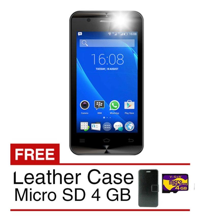 SPC Mobile S11 Selfie - 8 GB - Hitam + Gratis Leather Case + Micro SD 4 GB