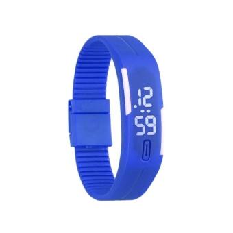 Sport Digital LED Watch Silicone Wristband Bracelet (Dark Blue)