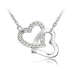 Sporter Heart To Heart Crystal Rhinestone Lover Choker Pendant Necklace White (Intl)