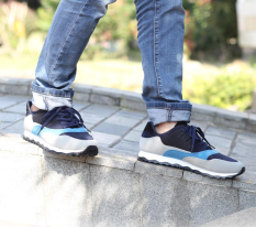 Spring Autumn Fashion Men's Spell Color Nubuck Leather Casual Shoes Low Breathable Lace-Up Rubber Shoes Flats