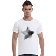 Star-Dotted Pattern Cotton Soft Men Short T-Shirt (White) - Intl