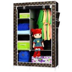 StarHome Lemari Pakaian Multifungsi dengan Tempat Gantungan Baju dan Penutup Debu- Lemari Portable - Organizer Pakaian - Corak