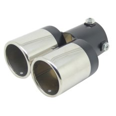 Straight Double Pipe Black And Silver Universal Exhaust Tailpipe 63mm Muffler Stainless Steel End Exhaust Pipe- Intl