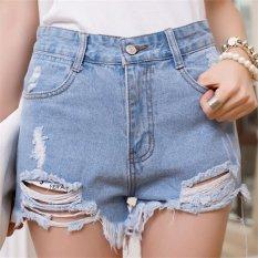 Street Fashion Women High Waist Short Jeans Pants With Hole HPT020 Blue