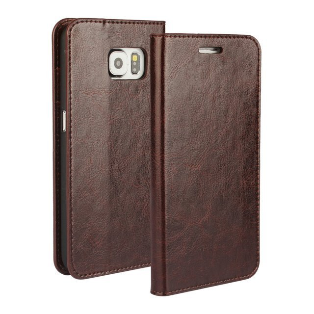 Stripe Leather Purse Holster Cover for Samsung Galaxy S6 (Brown)