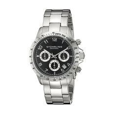 Stuhrling Original Concorso Mens Sports Watch - Analog Quartz Chronograph Watch - Black Dial Date Display Wrist Watch For Men - Mens Designer Watch With Stainless Steel Bracelet 665B.01 (Intl)